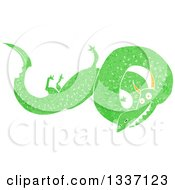 Clipart Of A Textured Green Chinese Dragon 5 Royalty Free Vector Illustration