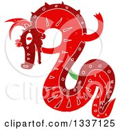 Clipart Of A Textured Red Chinese Dragon 4 Royalty Free Vector Illustration by lineartestpilot