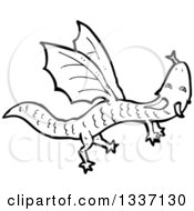 Lineart Clipart Of A Black And White Dragon Royalty Free Outline Vector Illustration by lineartestpilot