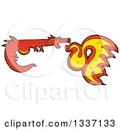 Clipart Of A Cartoon Red Fire Breathing Medieval Dragon Royalty Free Vector Illustration by lineartestpilot