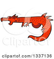 Clipart Of A Cartoon Red Medieval Dragon Royalty Free Vector Illustration by lineartestpilot
