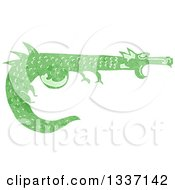 Clipart Of A Textured Green Medieval Dragon 2 Royalty Free Vector Illustration