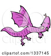 Clipart Of A Cartoon Flying Purple Dragon Royalty Free Vector Illustration by lineartestpilot