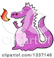 Clipart Of A Cartoon Purple Fire Breathing Dragon Royalty Free Vector Illustration by lineartestpilot