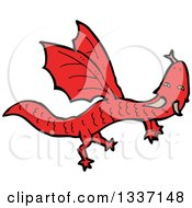 Clipart Of A Cartoon Flying Red Dragon Royalty Free Vector Illustration by lineartestpilot