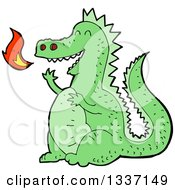 Clipart Of A Cartoon Green Fire Breathing Dragon Royalty Free Vector Illustration by lineartestpilot
