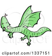Clipart Of A Cartoon Flying Green Dragon Royalty Free Vector Illustration by lineartestpilot