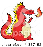 Clipart Of A Cartoon Red Fire Breathing Dragon Royalty Free Vector Illustration by lineartestpilot