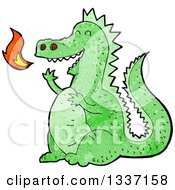 Clipart Of A Textured Green Fire Breathing Dragon Royalty Free Vector Illustration