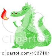 Clipart Of A Textured Green Fire Breathing Dragon 2 Royalty Free Vector Illustration