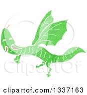 Clipart Of A Textured Flying Green Dragon 2 Royalty Free Vector Illustration