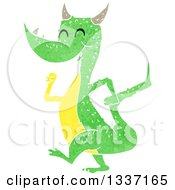 Clipart Of A Textured Happy Green Dragon Walking 2 Royalty Free Vector Illustration