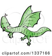 Clipart Of A Textured Flying Green Dragon Royalty Free Vector Illustration