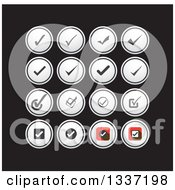Clipart Of Selection Tick Check Mark And Round App Icon Button Design Elements Over Black Royalty Free Vector Illustration