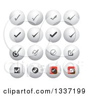 Clipart Of Selection Tick Check Mark And Shaded Orb Round App Icon Button Design Elements Royalty Free Vector Illustration
