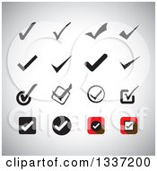 Clipart Of Selection Tick Check Mark App Icon Button Design Elements Over Shading Royalty Free Vector Illustration