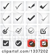 Clipart Of Selection Tick Check Mark And Shaded Square App Icon Button Design Elements Royalty Free Vector Illustration