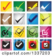 Clipart Of Selection Tick Check Mark And Colorful Square App Icon Button Design Elements Royalty Free Vector Illustration