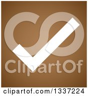 Clipart Of A White Selection Tick Check Mark Over Brown App Icon Button Design Element Royalty Free Vector Illustration