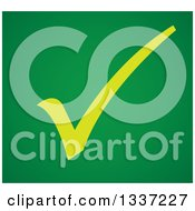 Clipart Of A Yellow Selection Tick Check Mark Over Green App Icon Button Design Element Royalty Free Vector Illustration