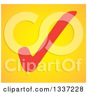 Clipart Of A Red Selection Tick Check Mark Over Yellow App Icon Button Design Element Royalty Free Vector Illustration