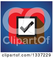 Clipart Of A Black And White Selection Tick Check Mark Box On A Red Square Over Blue App Icon Button Design Element Royalty Free Vector Illustration