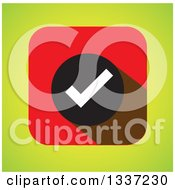 Clipart Of A White Selection Tick Check Mark In A Black Circle And Red Square Over Green App Icon Button Design Element Royalty Free Vector Illustration