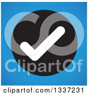 Clipart Of A White Selection Tick Check Mark In A Black Circle Over Blue App Icon Button Design Element Royalty Free Vector Illustration