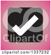 Clipart Of A White Selection Tick Check Mark In A Black Square Over Pink App Icon Button Design Element Royalty Free Vector Illustration