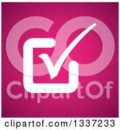 Clipart Of A White Selection Tick Check Mark Over Pink App Icon Button Design Element Royalty Free Vector Illustration