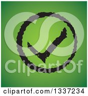 Clipart Of A Distressed Grungy Selection Tick Check Mark In A Circle Over Green App Icon Button Design Element Royalty Free Vector Illustration