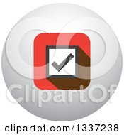 Clipart Of A Selection Tick Check Mark And Shaded Orb Round App Icon Button Design Element 2 Royalty Free Vector Illustration