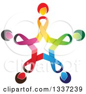 Clipart Of A Star Made Of Colorful Cancer Awareness Ribbon Women Royalty Free Vector Illustration