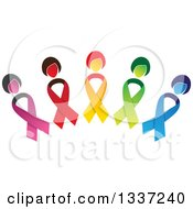 Clipart Of An Arch Made Of Colorful Cancer Awareness Ribbon Women Royalty Free Vector Illustration
