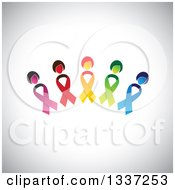 Clipart Of An Arch Made Of Colorful Cancer Awareness Ribbon Women Over Shading Royalty Free Vector Illustration