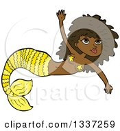 Clipart Of A Cartoon Yellow Black Mermaid Swimming Royalty Free Vector Illustration by lineartestpilot