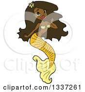 Cartoon Beautiful Black Mermaid With Long Hair And Yellow Tail