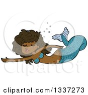 Clipart Of A Cartoon Blue Black Mermaid Swimming Royalty Free Vector Illustration