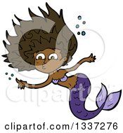 Clipart Of A Cartoon Black Purple Black Mermaid Swimming And Pointing Royalty Free Vector Illustration