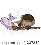 Clipart Of A Cartoon Black Topless Tattooed Mermaid Swimming Royalty Free Vector Illustration