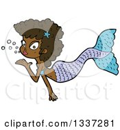 Cartoon Black Mermaid Blowing A Kiss 2