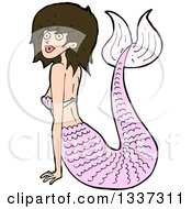 Cartoon Pink Brunette White Mermaid Pushing Herself Up With Her Arms