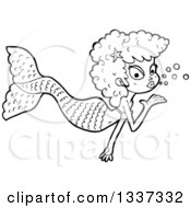Lineart Clipart Of A Cartoon Black And White Mermaid Blowing A Kiss 3 Royalty Free Outline Vector Illustration by lineartestpilot