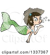 Clipart Of A Textured Brunette White Mermaid Blowing A Kiss 4 Royalty Free Vector Illustration