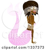Clipart Of A Textured Black Topless Mermaid Propping Herself Up With Her Arms Royalty Free Vector Illustration
