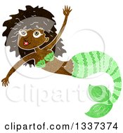 Clipart Of A Textured Black Mermaid Swimming 6 Royalty Free Vector Illustration