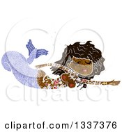 Clipart Of A Textured Black Topless Tattooed Mermaid Swimming Royalty Free Vector Illustration