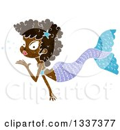 Clipart Of A Textured Black Mermaid Blowing A Kiss 2 Royalty Free Vector Illustration