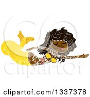 Clipart Of A Textured Black Topless Tattooed Mermaid Swimming 2 Royalty Free Vector Illustration