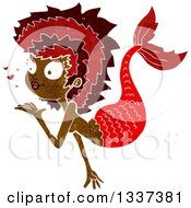 Clipart Of A Textured Black Mermaid Blowing A Kiss 3 Royalty Free Vector Illustration